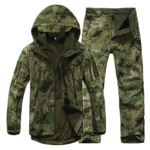 Men's Tactical Waterproof Jacket Outdoor Softsell Camouflage Suit Hunting Hiking Fishing Fleece Jacket Pants