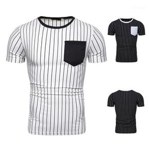 Mens Designer rayé lambrissé T-shirts de mode de poche T-shirts de couleur naturelle Crew Casual manches courtes T-shirts Vêtements pour hommes