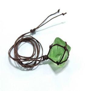 Gioielli collana della corda regalo di pietra Pendente tessuto monili della collana di corda donne Octahedral Faux Fluorite Pietra Pendente tessuto regalo