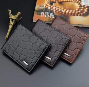 DHL50pcs Short PU Stone Men 2foldable Flap Wallet Card Black Prints Holder Credit Yong Purse Coffee Fsqhb