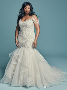 2020 Gorgeous Beaded Mermaid Wedding Dresses 2019 White Appliques Sheath Boho Bridal Gown Plus Size Beach Wedding Dress Custom Made