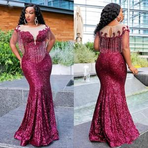 2020 South African Glitter Mermaid Abendkleider Sparkly Fuchsia Pailletten Applikationen SpitzeAppliques Quaste lange Trompete formale Abendkleider