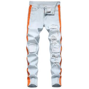 Unique Mens Slim Fit Jeans Fashion Distressed painted Light Blue Biker Denim Pants Big Size Motocycle Hip Hop Trousers For Male JB925