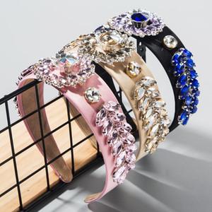 2020 nuevas llegadas Hairband barroco de lujo de la flor de cristal Super Flash mujer de clase alta y las hojas de boda y cintas del partido