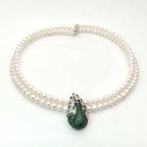 Hand knotted 2strands 7-8mm white round freshwater pearl necklace micro inlay zircon accessories pearl pendant long 45-47cm