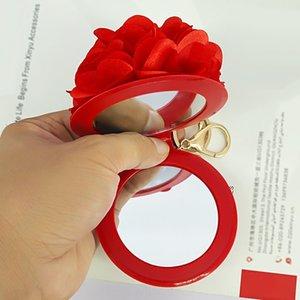 C4Qis Нового косметического Fugui ткани цветок зеркало брелок подвеска путешествие портативного косметическое зеркало DIY подвеска