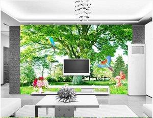 WDBH photo personnalisé 3d fond d'écran vert grand art mur décoration murale fond arbre paysage autocollants 3D