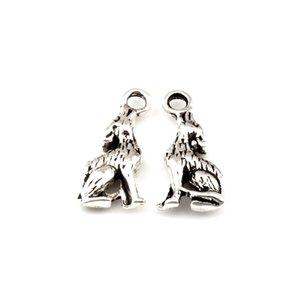 150pcs Sıcak satış Tibet gümüş Çift çakal kurt Çinko alaşımlı Charms Kolye DIY Takı 20x8mm taraflı