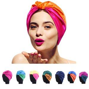 Şekillendirme Çift Katmanlı Gece Şapka Stretch İpek Saç Cap Bayanlar Kafa Hicap Bonnet Muslin Turban Haircaring Kemoterapi Saten