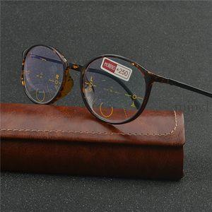 fashion women Round frame progressive multifocal lens retro sun photochromic reading glasses outdoor sunglasses FML