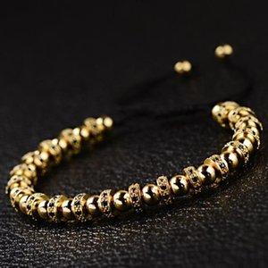 LOOKER Adjustable New Trendy Luxury Bracelet Men Women Gold Micro Pave Black CZ Stoppers Spacer Beads Braided Bracelet Jewelry