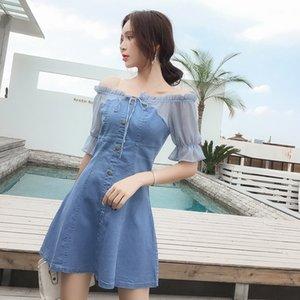 f1BEg Super fairy collar short-sleeved denim stitching chiffon dress dress 2020 new women's slim fit Summer summer Wedding clothes IpwR1