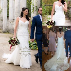 Affordable Women Wedding Dresses Mermaid Floor Length Lace Fishtail Bride Gown Custom Made with V-neck Trumpet for Girls Outdoor