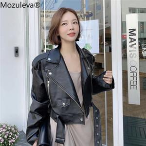 Mozuleva Winter Coat Retro High Street Turn-down Neck Women PU Leather Jacket Short Black Faux Leather Jacket Female Loose 200917