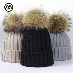 Marque d'hiver Femme Chapeau de boule pompons Chapeau d'hiver pour les femmes Girl « S Bonnet tricoté Bonnet Cap épais femmes Skullies Beanies