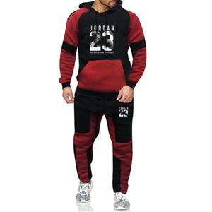 Moda Treino Casual Roupas Masculino marca Sportsuit Men Hoodies Moletons Sportswear 23 Brasão + Pant Homens Set