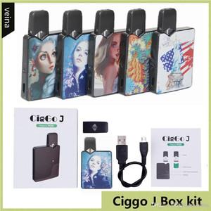 Auténtica Ciggo J Caja Pod Kit 350mAh portátil Vape Mod Kit de inicio con 0,6 ml de cerámica Bobina Cartucho compatible Jbox batería libre de DHL
