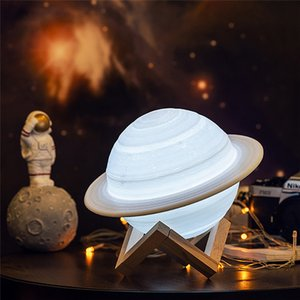 Coquimbo 3D-Druck Saturn-Lampen-Ausgangsdekoration Schlafzimmer LED-Nachtlicht mit Fernsteuerpult für Geschenk der Kinder-Nachttischlampe