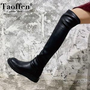 Taoffen New Women Over The Knee Botas Rodada Toe Moda Casual Mulheres longo inverno Botas Calçados Tamanho 33-42