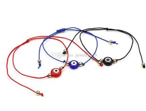 Charms Cgjxs 10pcs / Lot rosso stringa braccialetto fortunato blu Evil Eye regalo braccialetto registrabile
