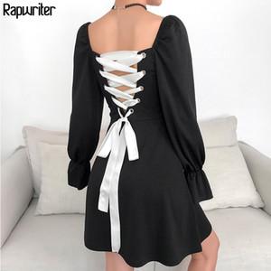 Rapwriter Seksi Backless Kasetli Lace Up Kare Yaka Şık Elbise Kadınlar 2020 Uzun Flare Kol Midi Elbise Siyah vestidos LJ200909