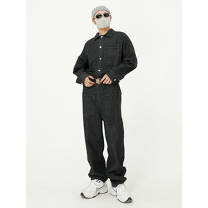 Men Belt Long Sleeve Casual Denim Jumpsuit Cargo Pant Jeans Male Streetwear Hip Hop Overalls Jumpsuits Trousers Regular Mid 8773