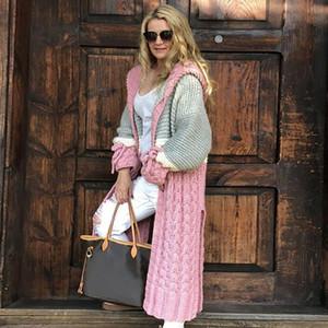Quente Mulheres com capuz Cardigan Patchwork Inverno casaco de malha longo fêmea da doce cor de malha aberta ponto Outwears