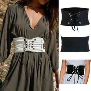 أزياء المرأة على نطاق واسع الخصر حزام معدني زهرة مطاطا تمتد إبزيم حزام 2020 الساخن بيع الرباط خمر ضمادة الأسود حزام الخصر
