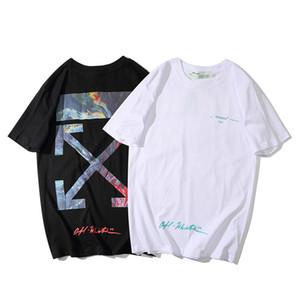 2020 Frühling und Sommer neue Modemarke OW Graffiti Ölgemälde Pfeil Druck paar Männer und Frauen der halben Hülse T-Shirt der Frauen