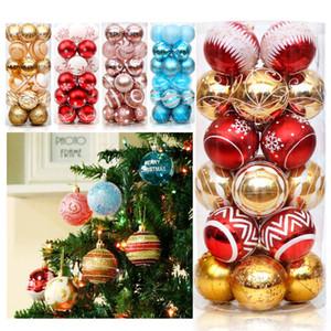 Noel Toplar Süsler Yılbaşı Ağacı Süsler Balls 6cm Bright Light Toplar 24 Boyalı Topu Noel Süsleri XD23949