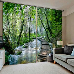 High quality Nature scenery wood birdge blackout curtains Thick shading soundproof windproof curtain 3d curtains