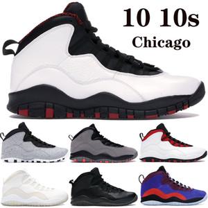 Новый Jumpman 10 10s мужской баскетбол обувь Чикаго крылья светло-серый дым Drake OVO спорта черный стали мужские кроссовки США 7-13