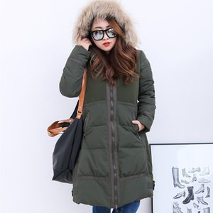 Women 2020 Coat Jacket Female White Duck Down Hood Imitation Fur Collar Thicken Warm Winter Jackets Plus Size 9XL HJ119