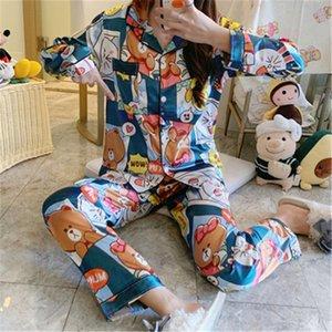 Luxury Pajama Suit Couple Pajama Sets Silk Satin Pijamas Sweet Flower Printed Sleepwear Home Suit Pyjama For Lover Man Woman Lovers Cloth#626