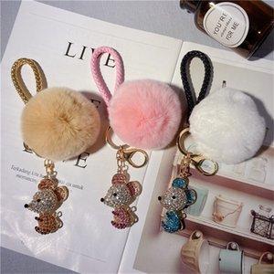 New year the rat, zodiac year cartoon mouse keychain diamond-studded couple bag pendant car gift key chain