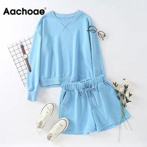 Aachoae Mode Frauen Blau Zweiteiler beiläufige lose PulloverHoodies + elastische Taillen-Jogginghose Shorts Damen 2 Stück Outfit