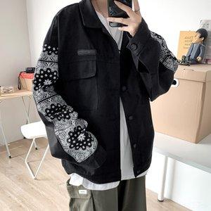 KFPBn 2020 Otoño Nueva nacionalidad Top Coat nacionalidad utillaje de moda de la manga de la flor tapa floja étnica capa delgada apuesto de los hombres de la chaqueta
