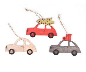 Hölzerne Weihnachtsbaumschmuck Elk Car Hanging Anhänger Neujahr Weihnachtsdekorationen für Haus-Party Navidad Neujahr