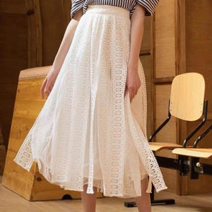 2020 Autumn New Women Simple Solid Color Sexy Lace A-line Mesh Skirt Temperament All-match Skirt Casual Long Free Shipping