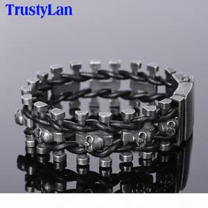 Trustylan Retro Black Stainless Steel Skull Men's Bracelet For Men Punk Rock Chain Leather Bracelets Hip-hop Armband Jewelry J190625