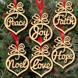 HOT Noël lettre bois de coeur modèle de bulle Ornement arbre de Noël Décorations Accueil Fête Décorations Hanging cadeaux, 6 pc par sac FY7173