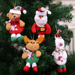 Christmas Tree Hanging Ornament Cartoon Santa Claus Snowman Bear Christmas Pendant Decoration Home Xmas Party Decorations RRA3552