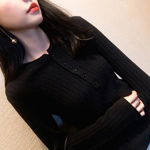 2019 autumn and winter New round neck Warm Pullover women's pullover vertical bar slim bottoming sweater Big Red warm sweater