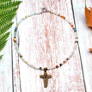 MOON GIRL 4MM Natural Amazonite Stone Jesus Pendant Necklace Boho Unique Design Choker Collier Femme Jewelry Gift Dropshipping