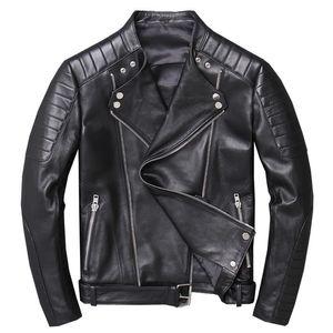 Genuine Leather Jacket Men Real Sheepskin Motorcycle Biker Leather Jacket Casual Slim Male Winter Outerwear jaqueta de couro