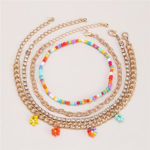 10Sets Lot Women Multi Layer Flower Anklets European Fashion Diamond Beaded Chain For Beach Vacation Barefoot Jewelry Anklet Accessories