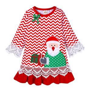 Çocuklar Kızlar A-line Elbise Noel Çizgili Prenses Giydirme Bebek Dantel Uzun Kollu Kıyafetleri Bebek Karikatür Cllothes Kız Santa Elbiseler 060912