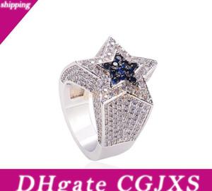 Men &#039 ;S Zircon Star Ring Sapphire Pentagon Ring Euramerican Hip Hop Fashion Accessories Copper66