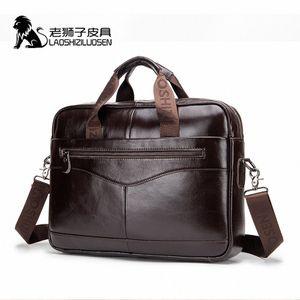 LAOSHIZI LUOSEN Mens Genuine Leather Bag Briefcase Messenger Bag Men Leather Work Bolso Hombre 91504 pAyS#