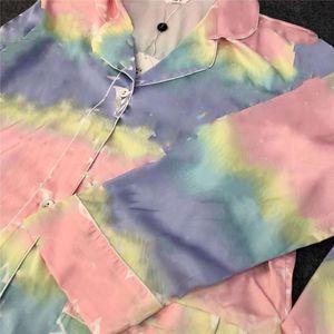 Lusso Old Flower Stampa donne Pigiama Autunno Nuovo Silky donne Sleepwear casuale allentata ragazze camice casa abbigliamento di alta qualità